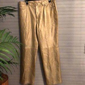 Vintage Nine West Gold Leather Pants